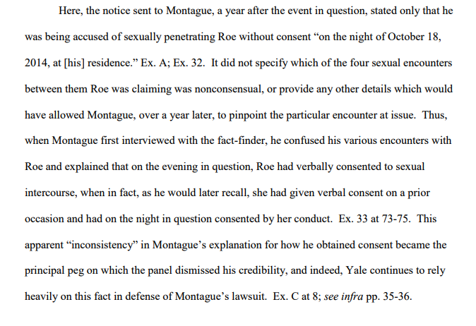 brief--notice never specified which sexl event was allegedly nonconsensual--Yale then uses that agst JM