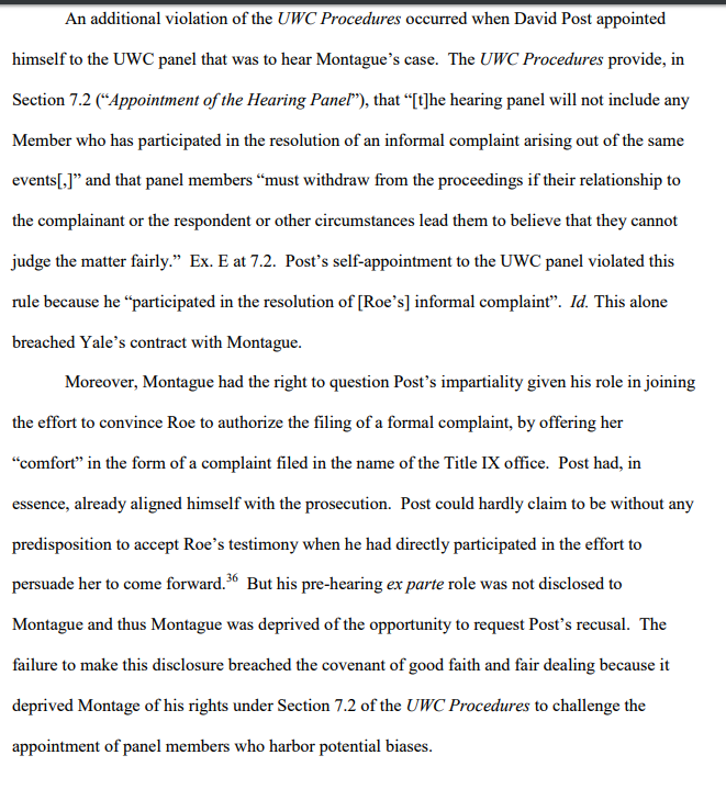 brief--UWC head appts himself to JM panel even tho he had played role in convincing accuser to participate in case