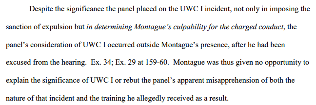 brief--UWCI played role in delib-punishment--but all outside Montague presence--no opp to rebut