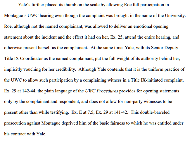 brief--Yale treated accuser as complainant in hearing--even though she was not