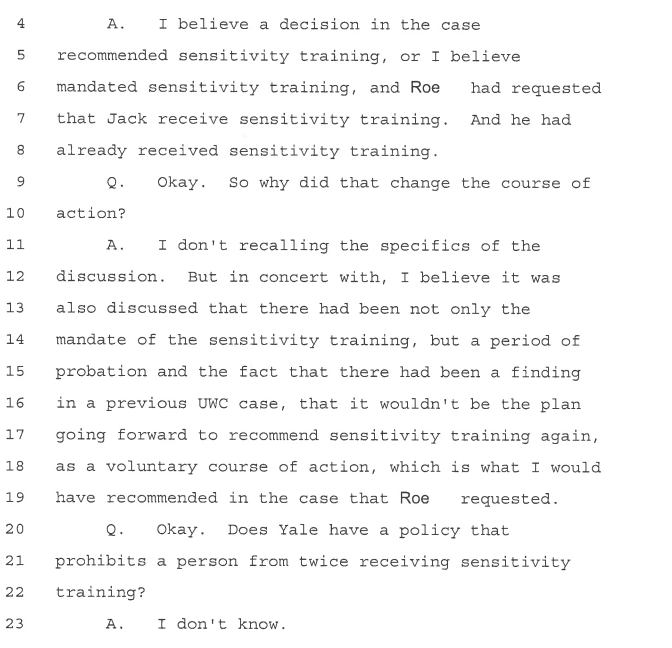 Gleason depo--moved from informal to formal bc already recd sensitivy training--then admits she doesnt know if Yale says cant rec sen training 2wice