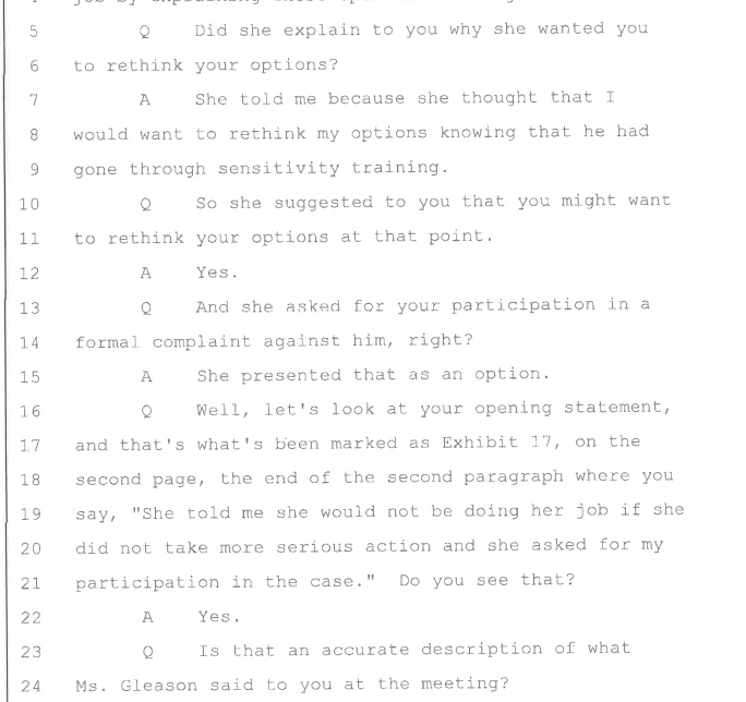 Montague accuser depo--concedes that TIX officer urged her to rethink her options about filing only informal complaint