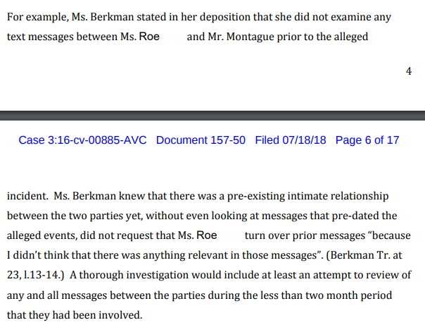 Yale invr deemed preincident texts bw Jm and accuser not relevant