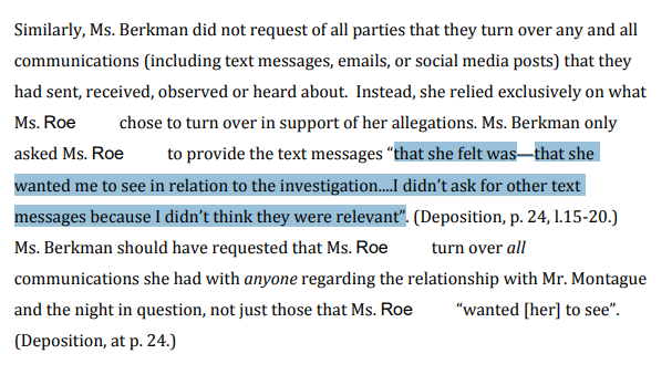 Yale invr only asks for texts that accuser wanted her to see